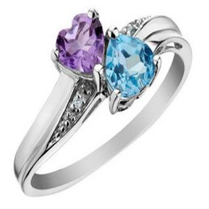 Buy Ag Gem Diamond Purple&pink Heart Gemstones Ring online