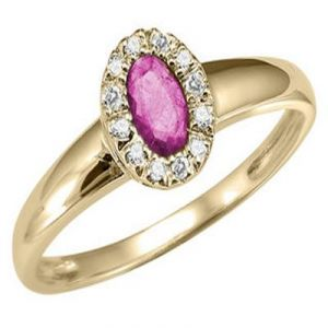 Buy Ag Gem Real Diamond Pink Oval Gemstones Ring online