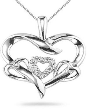 Buy Ag Real Diamond Hearts Pendant online