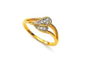 Buy Ag Real Diamond Beautiful Leaf Shape Ring online