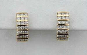 Buy Avsar Real Gold and Diamond Hoop Earring online