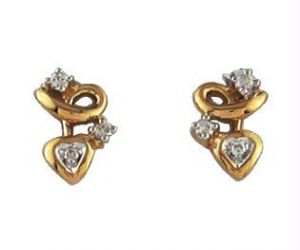 Buy Avsar Real Gold And Diamond Fancy Shape Earring online