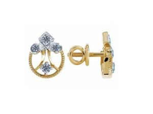 Buy Avsar Real Gold And Diamond Fancy Flower Earring online