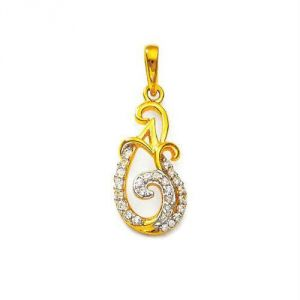 Buy Avsar Real Gold and Diamond A Shape PENDANT online