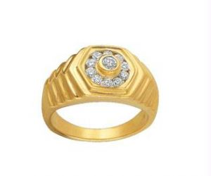 Buy Avsar Real Gold And Diamond Gents Ring Avr031 online