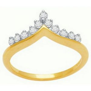 Buy Avsar Real Gold And Diamond Crown Shape Fancy Ring online
