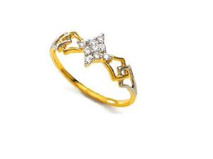 Buy Avsar Real Gold And Diamond Traditional Shape Ring online