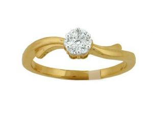 Buy Avsar Real Gold And Diamond Knot Shape Ring online