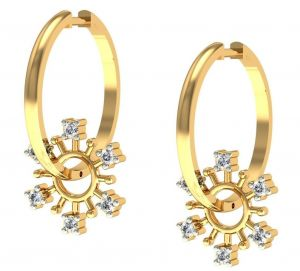 Buy Avsar Real Gold and  Swarovski Stone Mayuri Earring online