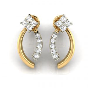 Buy Avsar Real Gold and Cubic Zirconia Stone Earring online