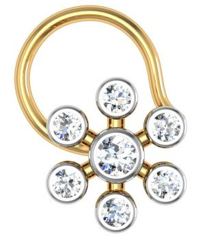 Buy Avsar Real Gold and Diamond Kaveri Nose Ring online