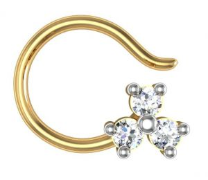 Buy Avsar Real Gold and Swarovski Stone Chitra Nose Ring online