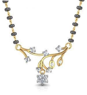 Buy Avsar Real Gold And Swarovski Stone Kolhapur Mangalsutra Avm067yb online