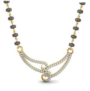 Buy Avsar Real Gold and Swarovski Stone Tripura Mangalsutra online