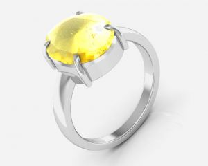 Buy Kiara Jewellery Certified Sunehla 3.0 cts or 3.25 ratti Citrine Ring online