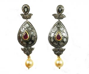 Buy 22.52 REAL DIAMOND RUBY PEARL VICTORIAN EARRING online