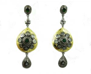 Buy 4.73 REAL DIAMOND EMERALD VICTORIAN EARRING online