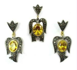 Buy 19.06ct Real Diamond Created Citrine Victorian Pendant online