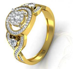 Buy Avsar Real Gold And Swarovski Stone Jidnya Ring Intr034yb online