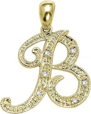 Kiara 'b' Alphabet Design American Diamond Pendant
