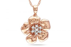 Buy KIARA PINK GOLD PLATED FLOWERSHAPE PENDANT online