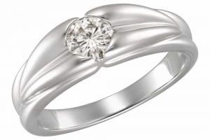 Buy Kiara SOLITIARE AD WHITE GOLD PLATED RING online