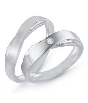Buy Kiara Jewellery Sterling Silver Swarovski Zirconia Couple Ring Kir0252 online