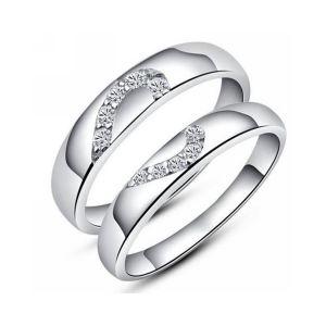 266777092 Buy Kiara Jewellery Sterling Silver Swarovski Zirconia Couple Ring ...