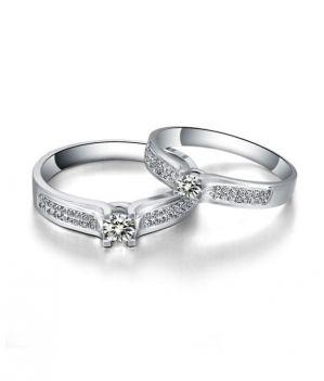 Buy Kiara Jewellery Sterling Silver Swarovski Zirconia Couple Ring online