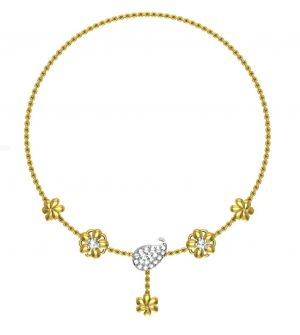 Buy Avsar Real Gold and Swarovski Stone Channai Necklace online