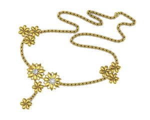 Buy Avsar Real Gold and Swarovski Stone Kajal Necklace online