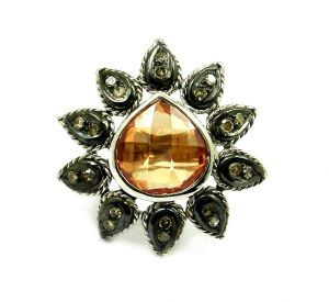Buy 9.67 Ct Real Diamond Created Citrine Ring online
