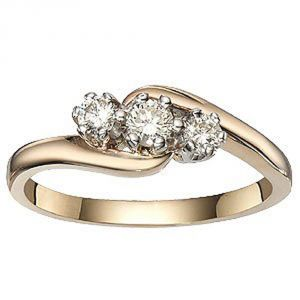 Buy Tarang Real Diamond Three Stone Fancy Ring online