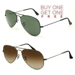 Buy Buy 1 Greenish Aviator Sunglasses And Get 1 Brown Aviator Sunglasses Free online