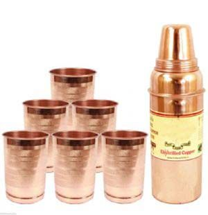 Buy Aayurveda Handmade Pure Copper Set Of 6 Glass Cup And 1 Bottle online