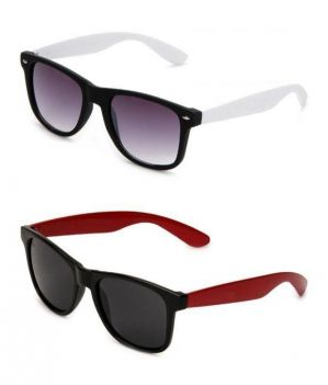 Buy Red Wayfarer Sunglasses And White Wayfarer Sunglasses - Buy 1 Get 1 Free online