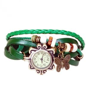 Buy Mfgenuine Leather Bracmf Vintage Butterfly Women Wrist Watch - Green online
