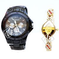 Buy Rosra Full Black And Elle Golden Wrist Watch Set For Couple -buy 1 Get 1 Free online