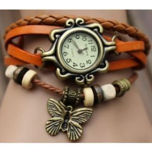 Buy Dh Vintage Leather Watch Orange online