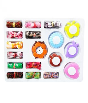 Buy Stylish & Sober Multi 11 Ribbon 6 Ring Watch For Kids -mf11ribbonmixring online