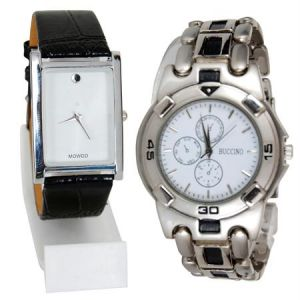 Buy New 2 Stylish Leather & Steel Watch online