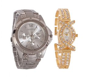 Buy Rosra Silver Round Analog Watch (buy 1 Get 1) online