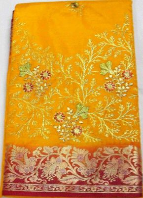buy party dress silk fabric musturd saree for woman online