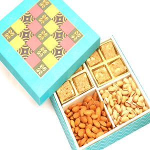 Buy Diwali Gifts Diwali Hampers Blue Print 8 PCs Granula Bites ,almonds And Pistachios Hamper Box online