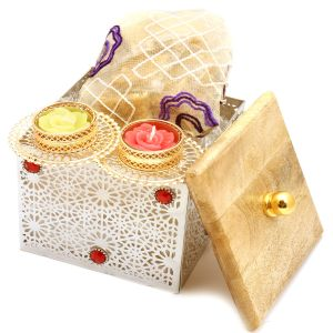 Buy Diwali Gifts Diwali Hampers Silver Wooden Box With Granula Bites Pouch And 2 T-lites online