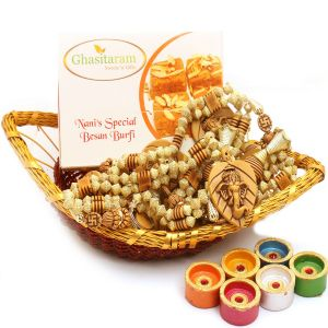 Buy Boat Basket With Nani's Special Besan Barfi, Toran And Diyas online