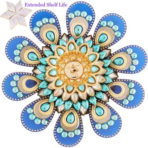 Buy Ghasitaram Gifts-blue And Gold Flower Floating Light Diya online