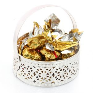 Buy Mothers Day Gifts- Silver Small Sugarfree Chocolates Basket online