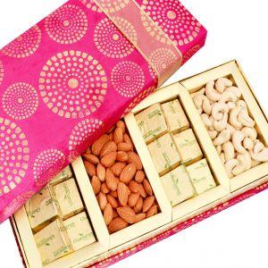 Buy Dryfruits-satin 4 Part Dryfruit And Chocolate Box Hamper online