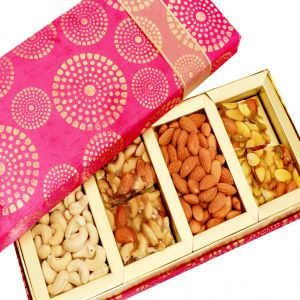 Buy Dryfruits-satin 4 Part Dryfruit And Dryfruit Chikki Box Hamper online